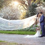 Flying veil bridal photography