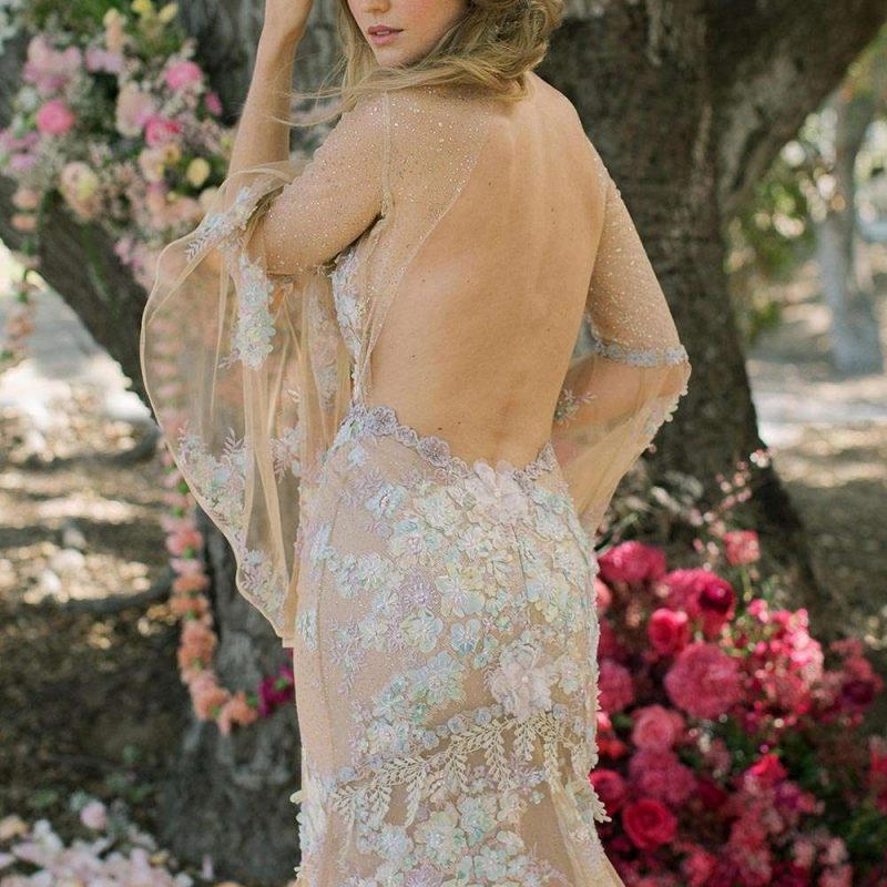 Open Back Wedding Gown by Claire Pettibone